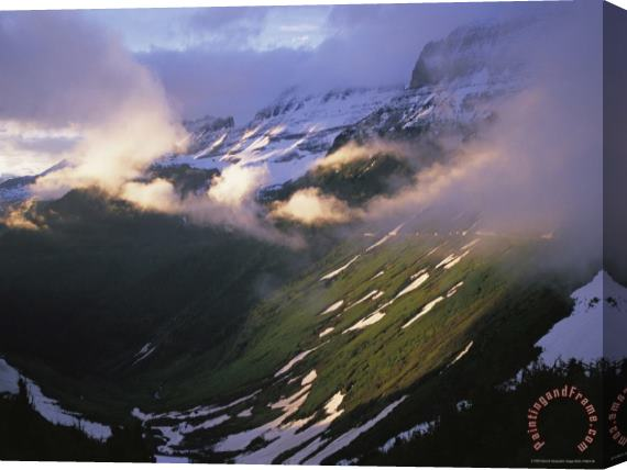 Raymond Gehman Clouds Fill The Valley at The Garden Wall in Logan Pass Stretched Canvas Print / Canvas Art