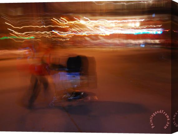 Raymond Gehman Man Pushing a Shopping Cart on a San Francisco Street at Night Stretched Canvas Print / Canvas Art