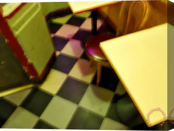 Raymond Gehman Table And Chairs in a San Francisco Pizza Shop Stretched Canvas Print / Canvas Art