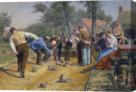 Remy Cogghe Playing Boules Iin a Flemish Village Stretched Canvas Painting / Canvas Art