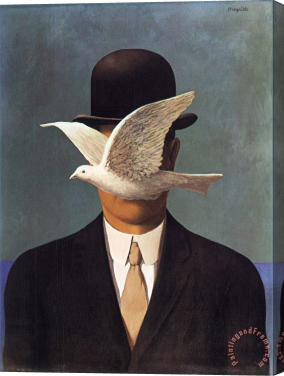 rene magritte Man in a Bowler Hat 1964 Stretched Canvas Print / Canvas Art