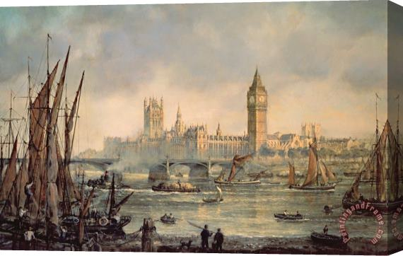 Richard Willis The Houses of Parliament and Westminster Bridge Stretched Canvas Print / Canvas Art