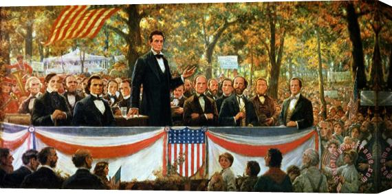 Robert Marshall Root Abraham Lincoln and Stephen A Douglas debating at Charleston Stretched Canvas Print / Canvas Art