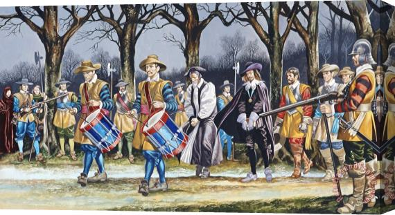 Ron Embleton Charles I's Last Walk Stretched Canvas Print / Canvas Art