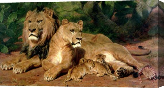 Rosa Bonheur The Lions at Home Stretched Canvas Print / Canvas Art