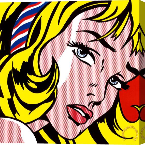 Roy Lichtenstein Girl with Hair Ribbon C 1965 Stretched Canvas Print / Canvas Art