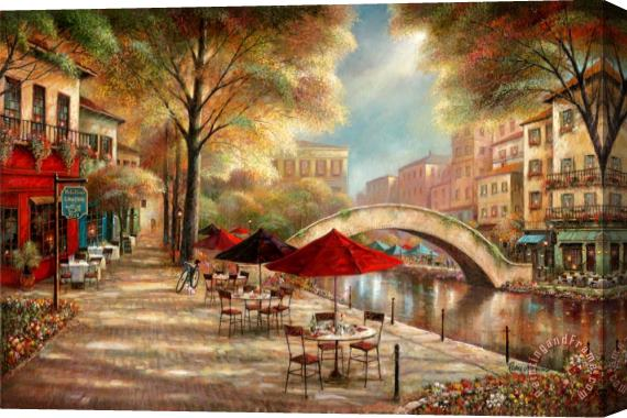 Ruane Manning Riverwalk Cafe Stretched Canvas Print / Canvas Art
