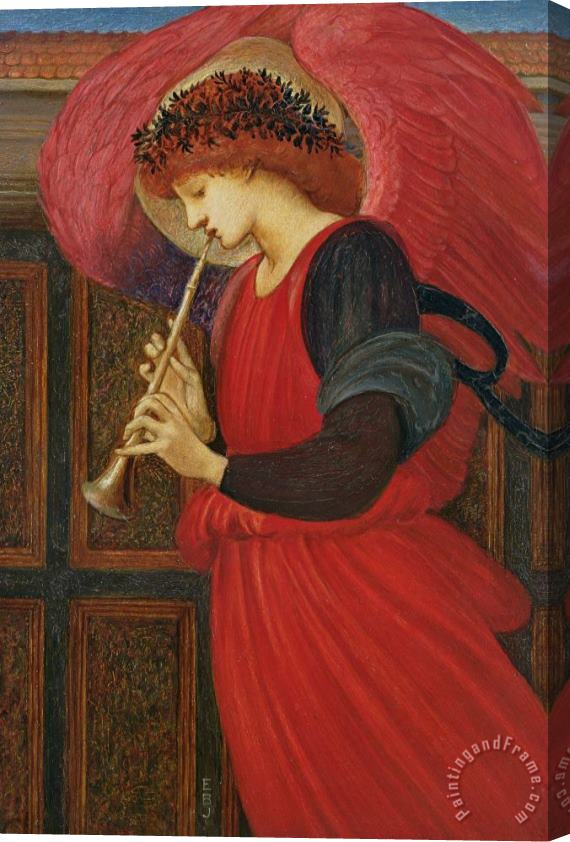 Sir Edward Burne-Jones An Angel Playing a Flageolet Stretched Canvas Print / Canvas Art