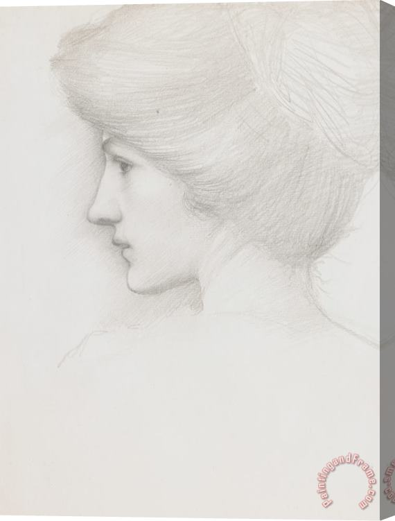 Sir Edward Coley Burne-Jones Study Of A Woman's Head Profile To Left Stretched Canvas Print / Canvas Art