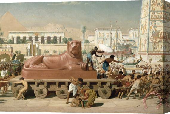 Sir Edward John Poynter Statue of Sekhmet being transported  detail of Israel in Egypt Stretched Canvas Print / Canvas Art