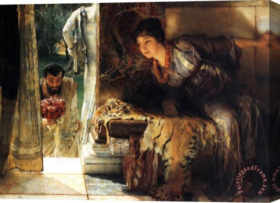 Sir Lawrence Alma-Tadema Welcome Footsteps Stretched Canvas Print / Canvas Art