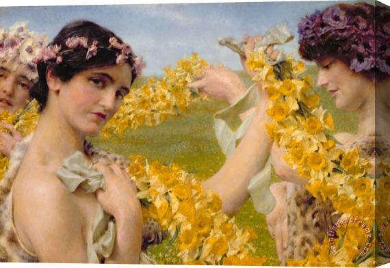 Sir Lawrence Alma-Tadema When Flowers Return Stretched Canvas Print / Canvas Art