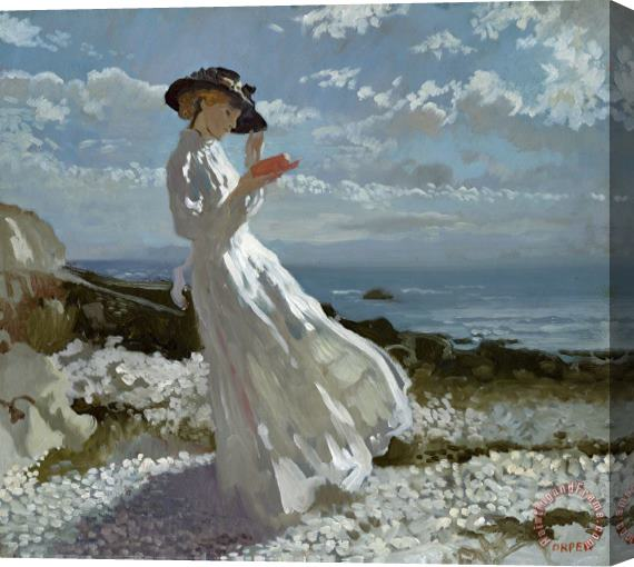 Sir William Orpen Grace reading at Howth Bay Stretched Canvas Print / Canvas Art