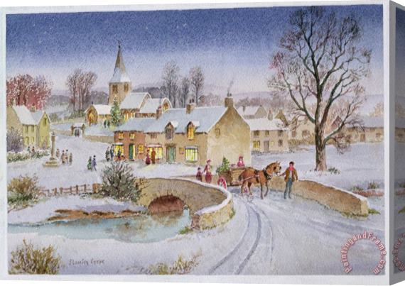 Stanley Cooke Christmas Eve In The Village Stretched Canvas Print / Canvas Art