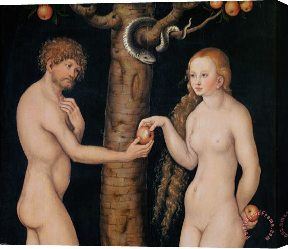 The Elder Lucas Cranach Eve Offering The Apple to Adam In The Garden of Eden Stretched Canvas Print / Canvas Art