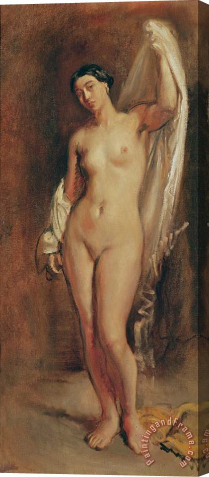 Theodore Chasseriau Standing Female Nude Stretched Canvas Print / Canvas Art