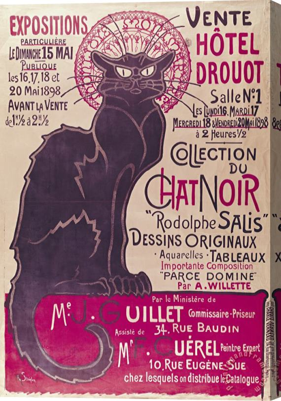 Theophile Alexandre Steinlen Poster advertising an exhibition of the Collection du Chat Noir cabaret Stretched Canvas Print / Canvas Art