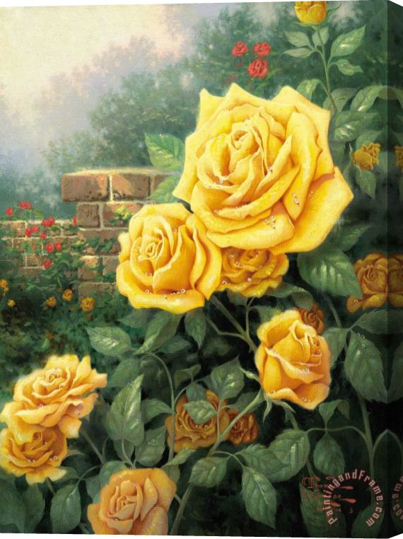 Thomas Kinkade A Perfect Yellow Rose Stretched Canvas Print / Canvas Art