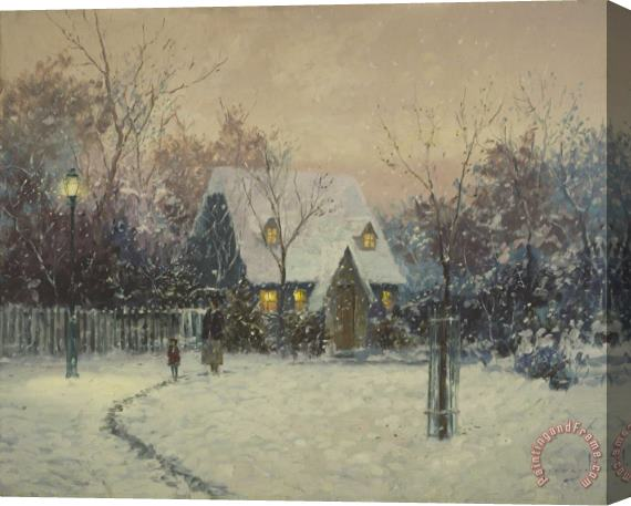 Thomas Kinkade A Winter's Cottage Stretched Canvas Painting / Canvas Art