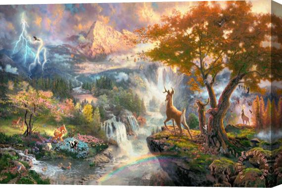 Thomas Kinkade Bambi's First Year Stretched Canvas Print / Canvas Art