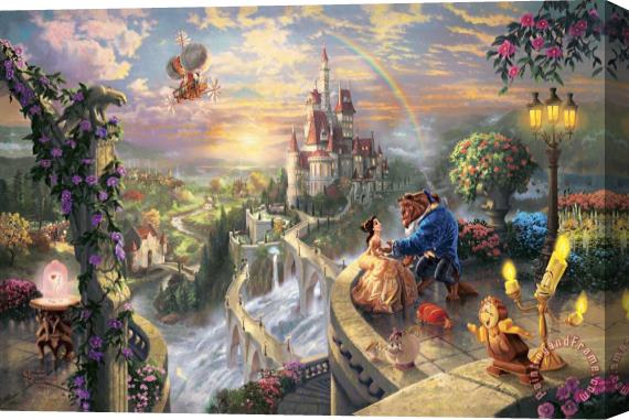 Thomas Kinkade Beauty And The Beast Falling in Love Stretched Canvas Painting / Canvas Art