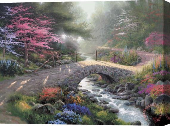 Thomas Kinkade Bridge of Faith Stretched Canvas Print / Canvas Art