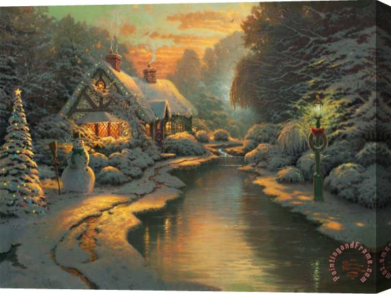 Thomas Kinkade Christmas Evening Stretched Canvas Painting / Canvas Art