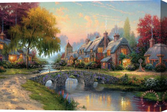 Thomas Kinkade Cobblestone Bridge Stretched Canvas Print / Canvas Art