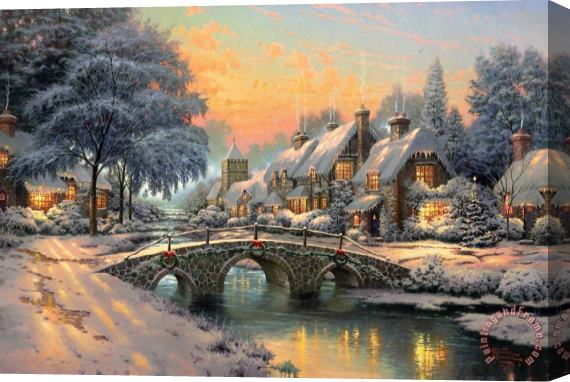Thomas Kinkade Cobblestone Christmas Stretched Canvas Print / Canvas Art