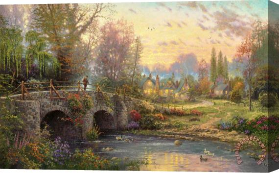Thomas Kinkade Cobblestone Evening Stretched Canvas Print / Canvas Art