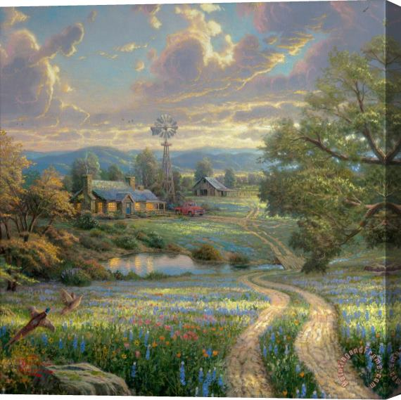 Thomas Kinkade Country Living Stretched Canvas Print / Canvas Art