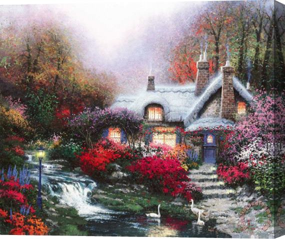 Thomas Kinkade Evening at Swanbrooke Cottage, Thomashire Stretched Canvas Print / Canvas Art