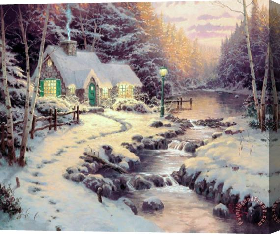 Thomas Kinkade Evening Glow Stretched Canvas Print / Canvas Art