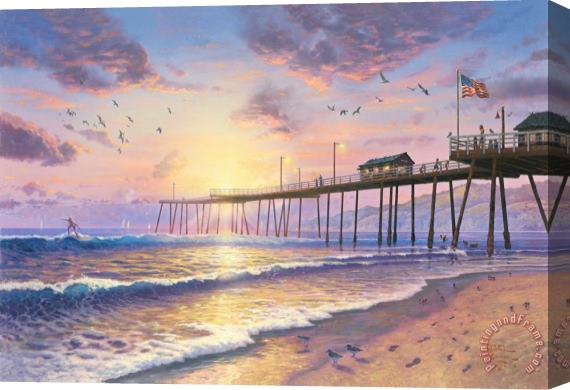 Thomas Kinkade Footprints in The Sand Stretched Canvas Print / Canvas Art