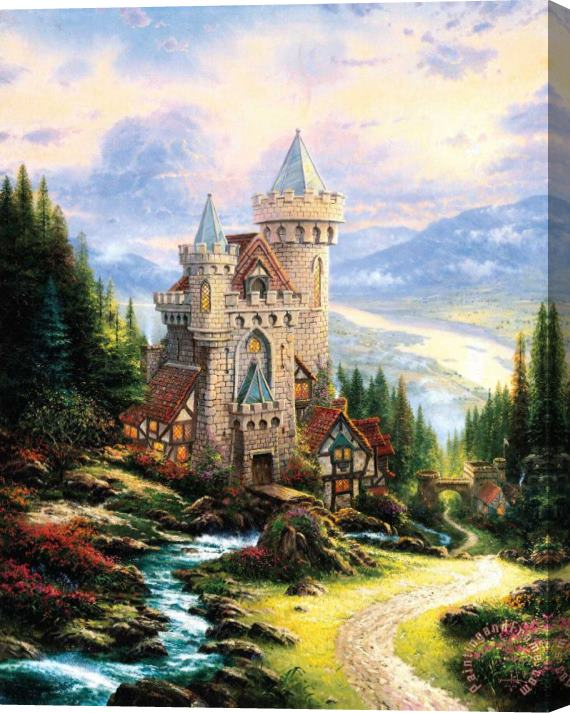 Thomas Kinkade Guardian Castle Stretched Canvas Print / Canvas Art