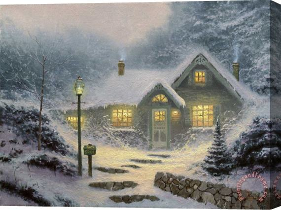 Thomas Kinkade Home for The Evening Stretched Canvas Print / Canvas Art