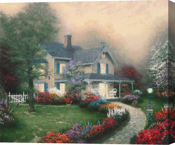 Thomas Kinkade Home Is Where The Heart Is Stretched Canvas Painting / Canvas Art
