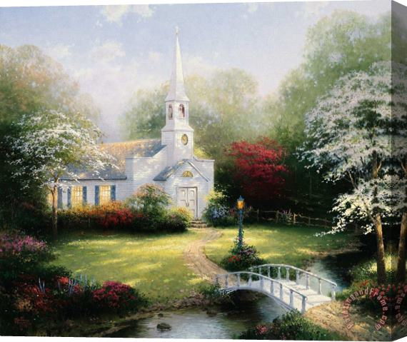 Thomas Kinkade Hometown Chapel Stretched Canvas Print / Canvas Art