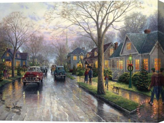 Thomas Kinkade Hometown Christmas Stretched Canvas Print / Canvas Art
