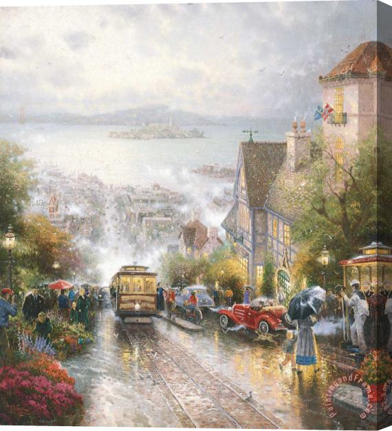 Thomas Kinkade Hyde Street And The Bay, San Francisco Stretched Canvas Print / Canvas Art