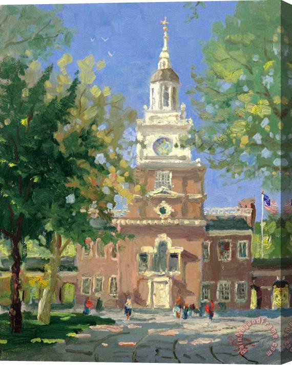 Thomas Kinkade Liberty Plaza, Philadelphia Stretched Canvas Print / Canvas Art