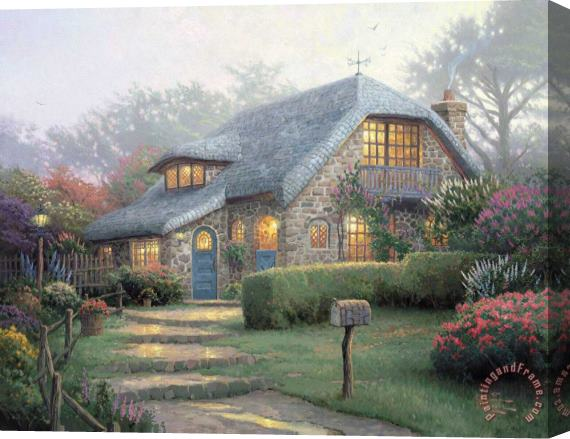 Thomas Kinkade Lilac Cottage Stretched Canvas Painting / Canvas Art