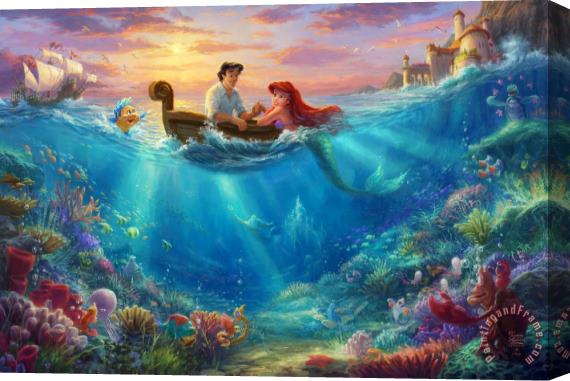 Thomas Kinkade Little Mermaid Falling in Love Stretched Canvas Print / Canvas Art