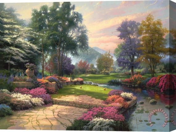 Thomas Kinkade Living Waters - Golfer's Paradise, Hole One Stretched Canvas Print / Canvas Art