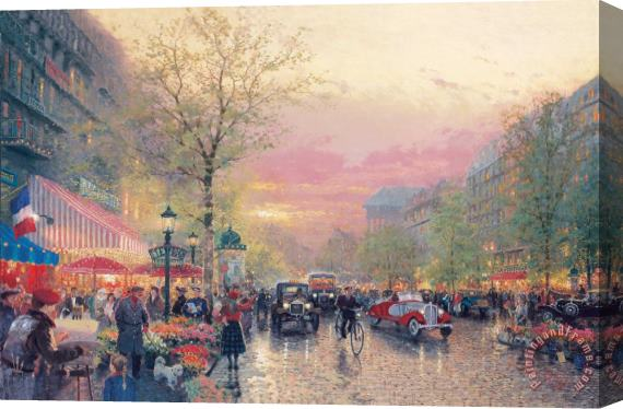 Thomas Kinkade Paris, City of Lights Stretched Canvas Print / Canvas Art