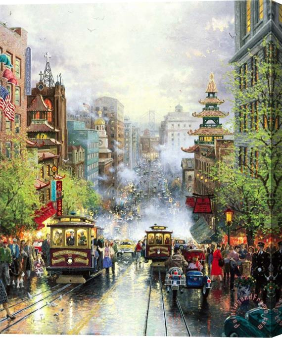 Thomas Kinkade San Francisco, a View Down California Street From Nob Hill Stretched Canvas Print / Canvas Art