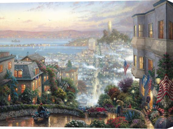 Thomas Kinkade San Francisco, Lombard Street Stretched Canvas Print / Canvas Art