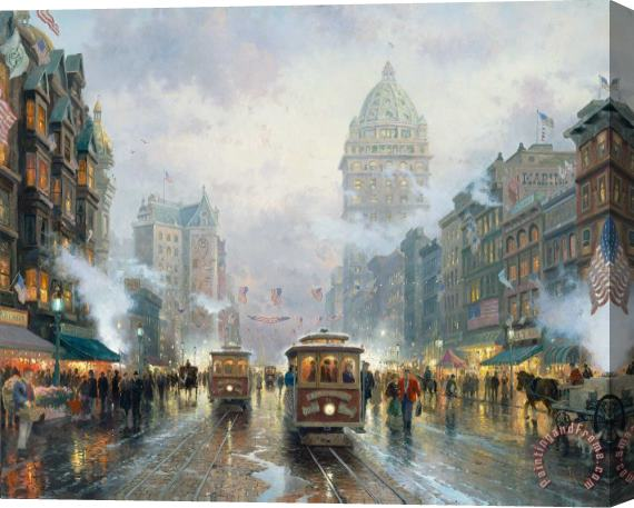 Thomas Kinkade San Francisco, Market Street Stretched Canvas Print / Canvas Art