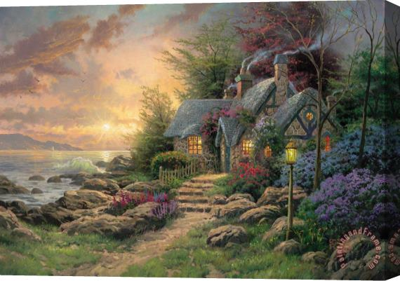 Thomas Kinkade Seaside Hideaway Stretched Canvas Print / Canvas Art