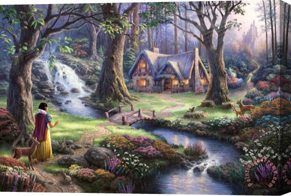Thomas Kinkade Snow White Discovers The Cottage Stretched Canvas Print / Canvas Art